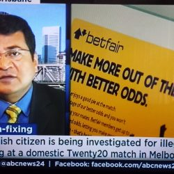 Dr Misra being interviewed on ABC on match-fixing and illegal betting in sports