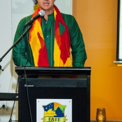 Mr Mathew Hayden, AM, and IAIE Goodwill Ambassador, passionately speaking about integrity in sports at the IAIE